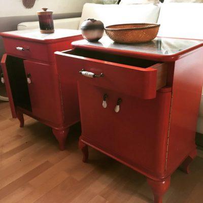 PRODÁNO Červené retro skříňky Art Deco